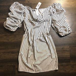 Dresses & Skirts - Pinstriped off the shoulder dress